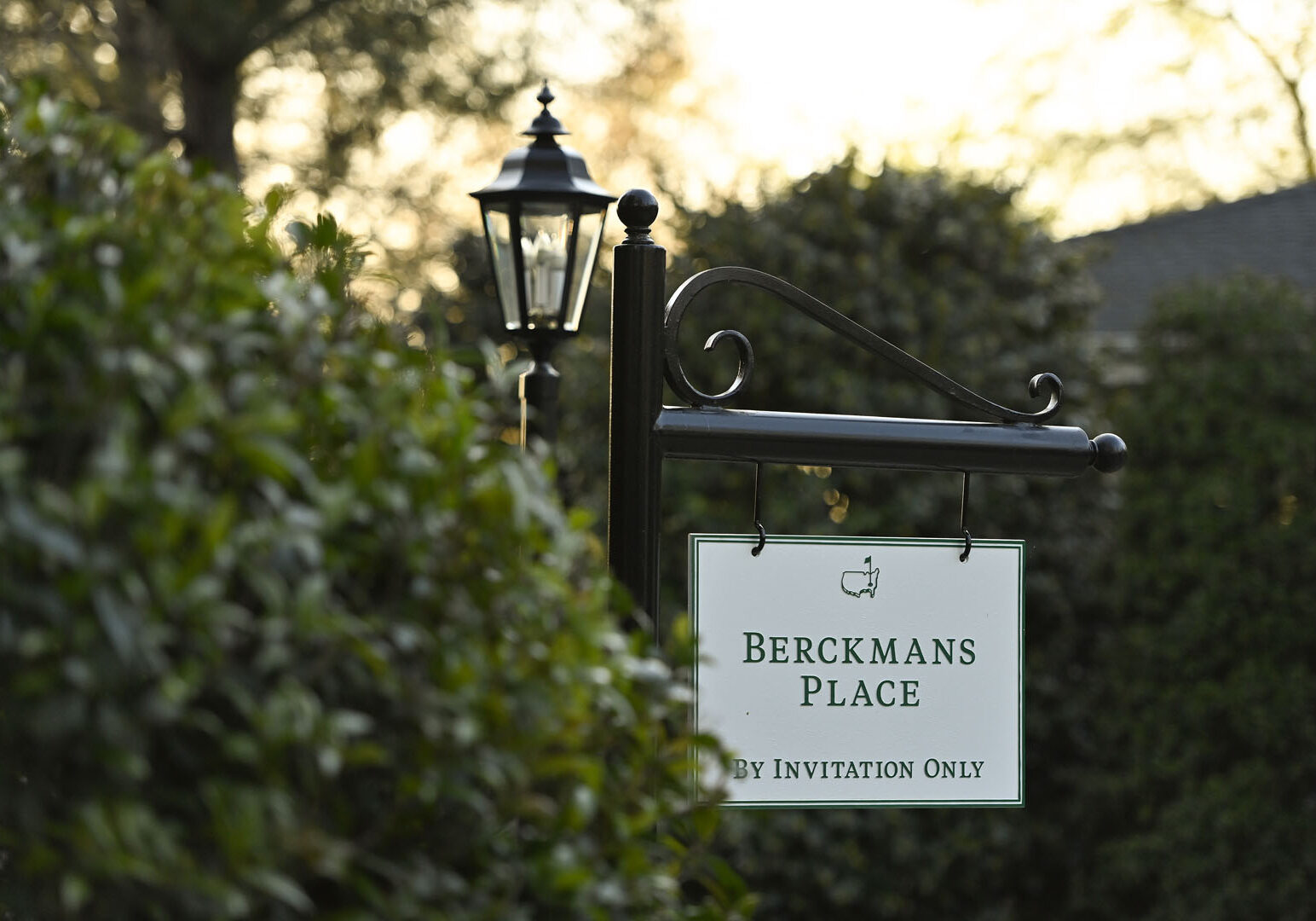 Signage at Berkmans Place is seen during the Augusta National Women's Amateur, Friday, April 2, 2021.